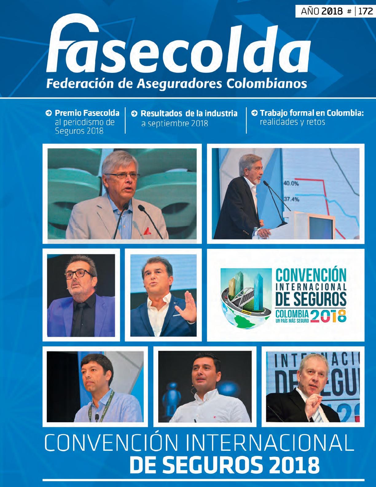 Fasecolda Federación de Aseguradores Colombianos Número 172 año 2018. Convención internacional de seguros 2018