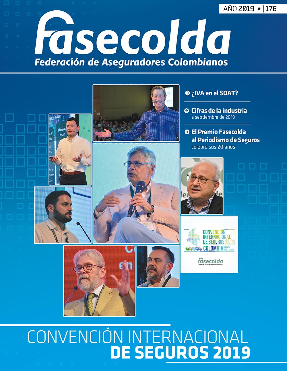 Fasecolda Federación de Aseguradores Colombianos Número 176 año 2019. Convención internacional de seguros 2019
